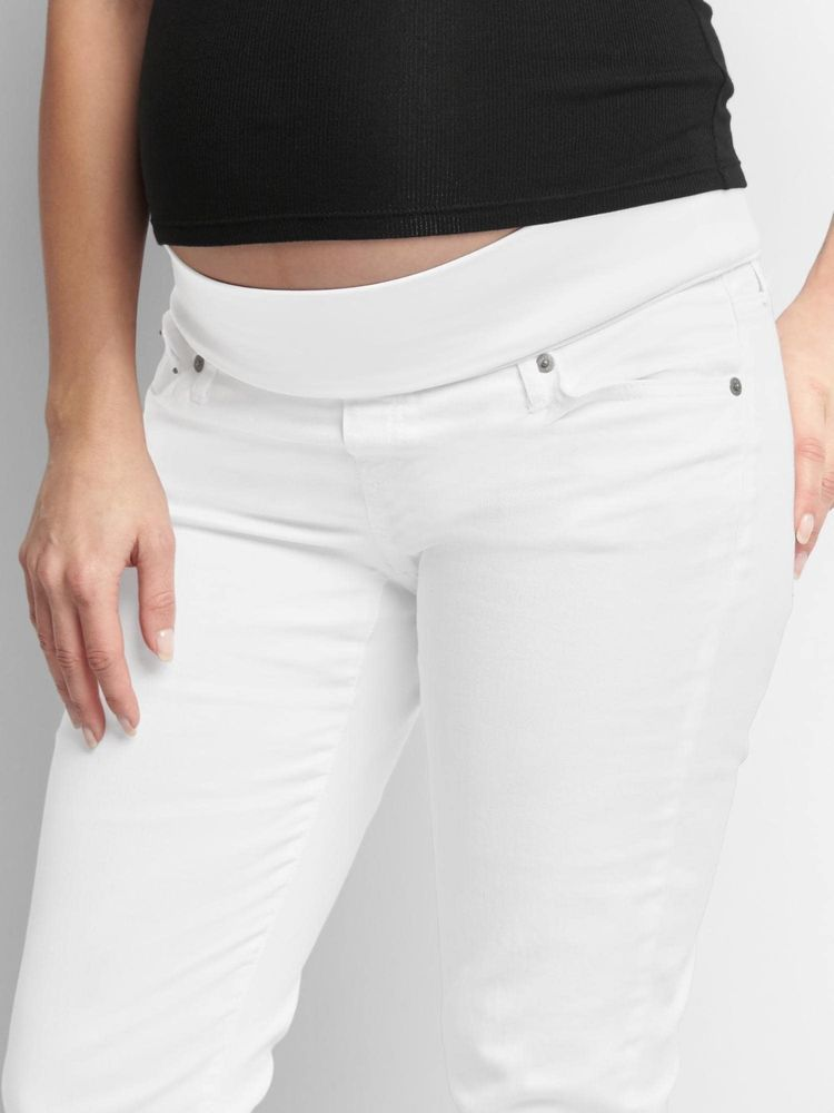4729c2a668e81 GAP MATERNITY FULL PANEL BEST GIRLFRIEND WHITE JEANS NWT Size 6 Free  Shipping #GAP #Tapered