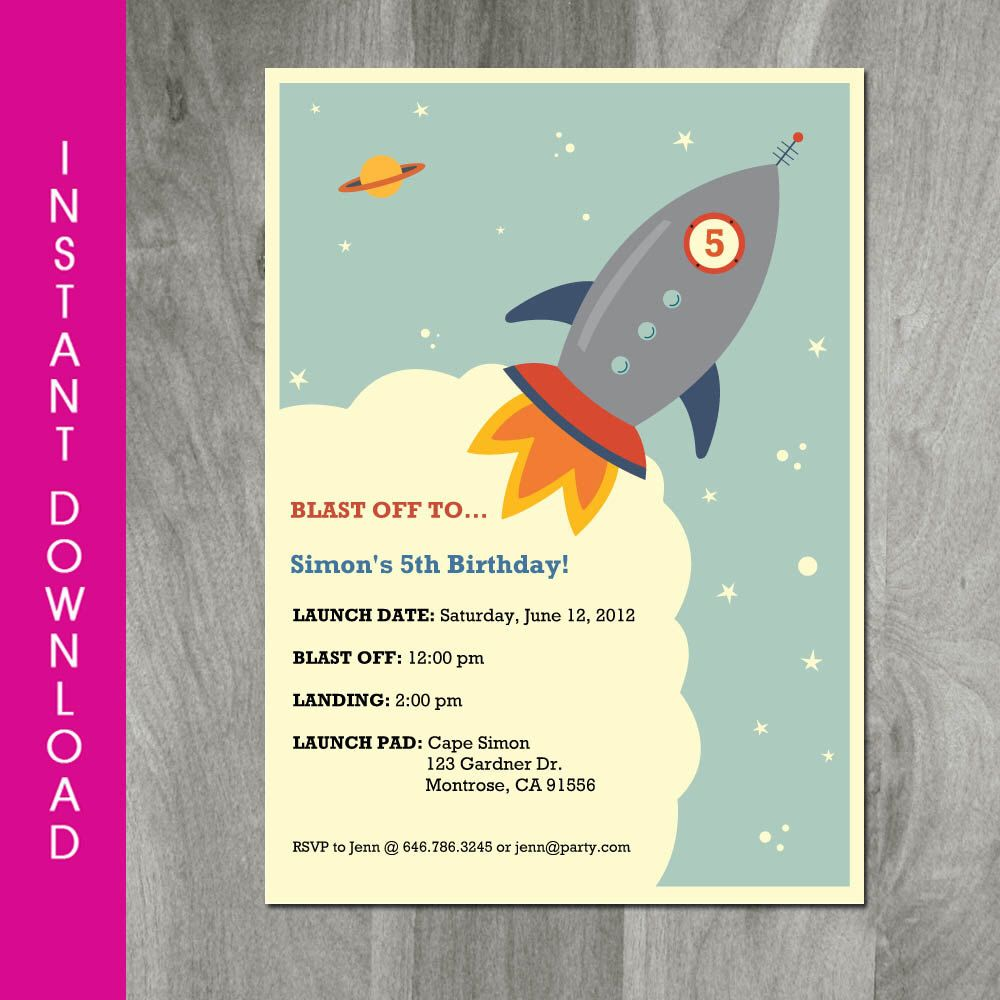 rocket party invitation self editable instant vintage rocket party invitation self editable instant rocket birthday space theme
