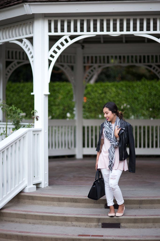 Fall Transitioning Outfit: Blush + White Denim