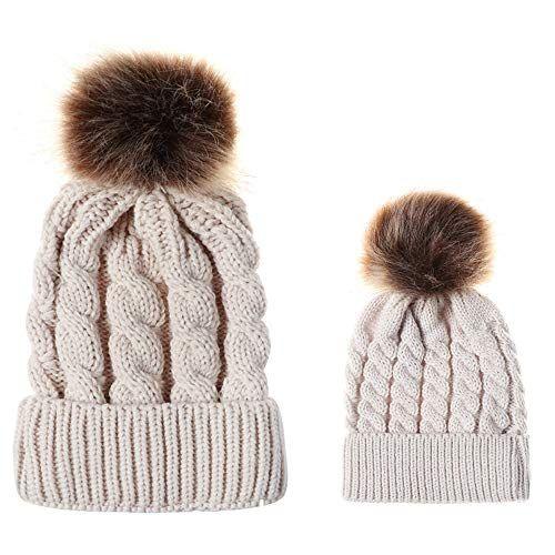 Mother Baby Warm Knit Hat Fur Wool Beanie Ski Cap 2PCS Parent-Child Hat