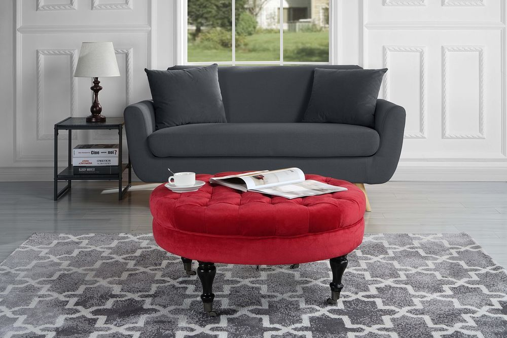 Velvet Tufted Coffee Table Ottoman Pouf Casters Wheels Furniture ...