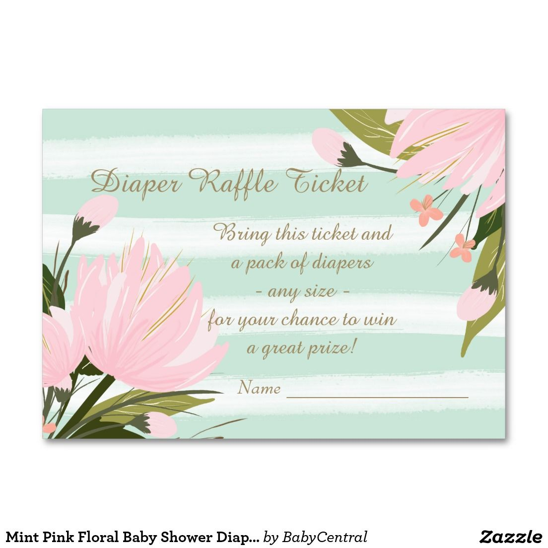 Mint pink floral baby shower diaper raffle ticket large business mint pink floral baby shower diaper raffle ticket large business cards pack of 100 magicingreecefo Choice Image