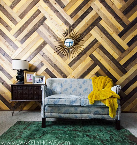 Wood chevron wall - HOLY COW! How cool would this be?!