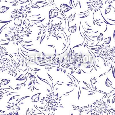 High-quality Vector Patterns from patterndesigns.com - Floral-Pattern-with-blue-Tendrils., designed by Muhammad Fiaz Mughal