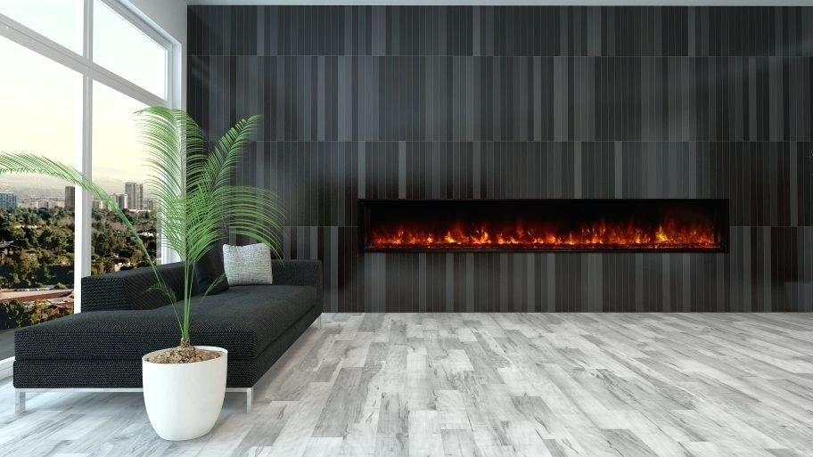Long Narrow Gas Fireplace Electric Black Tile