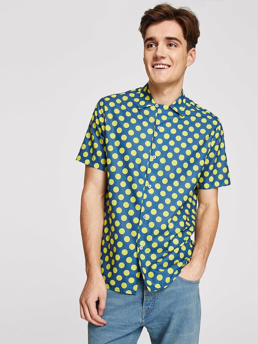 e7cae90df3 Men Polka Dot Print Shirt -SHEIN(SHEINSIDE) | PASHMARK~Part of ...