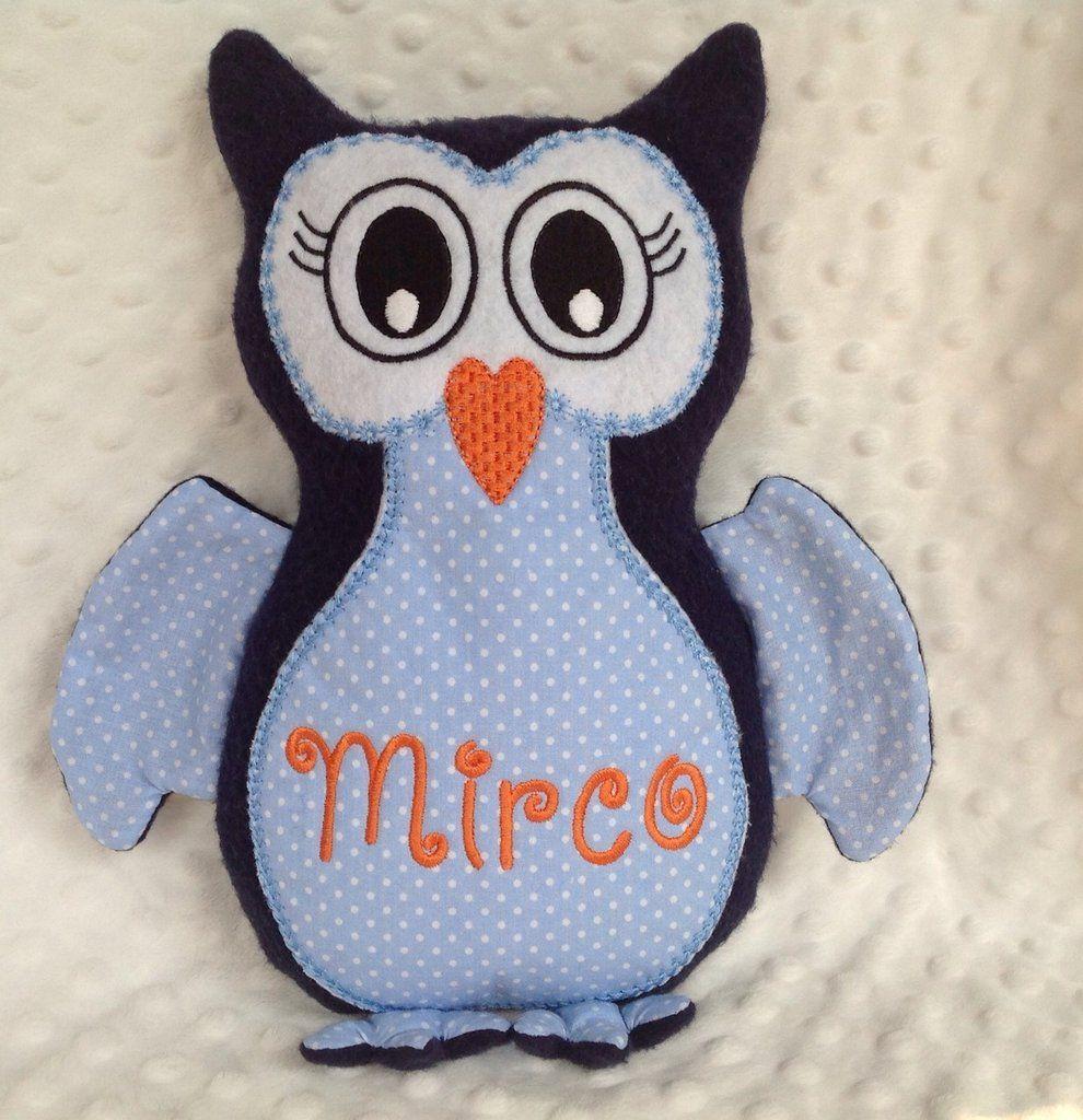 Civetta personalizzata - peluche pupazzo gufo blu, by un filo tira l'altro, 28,00€ su misshobby.com