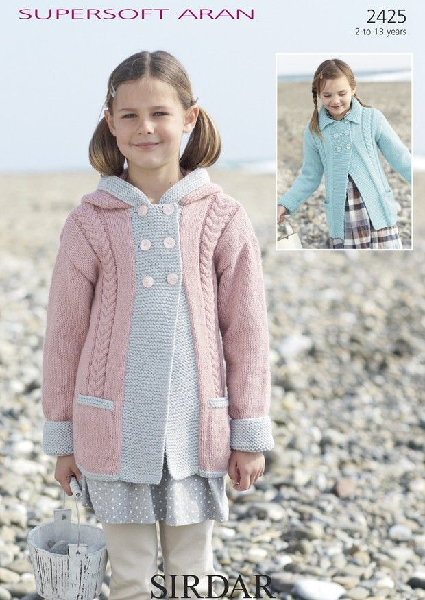 Girls Hooded Cabled Coat In Sirdar Supersoft Aran 2425