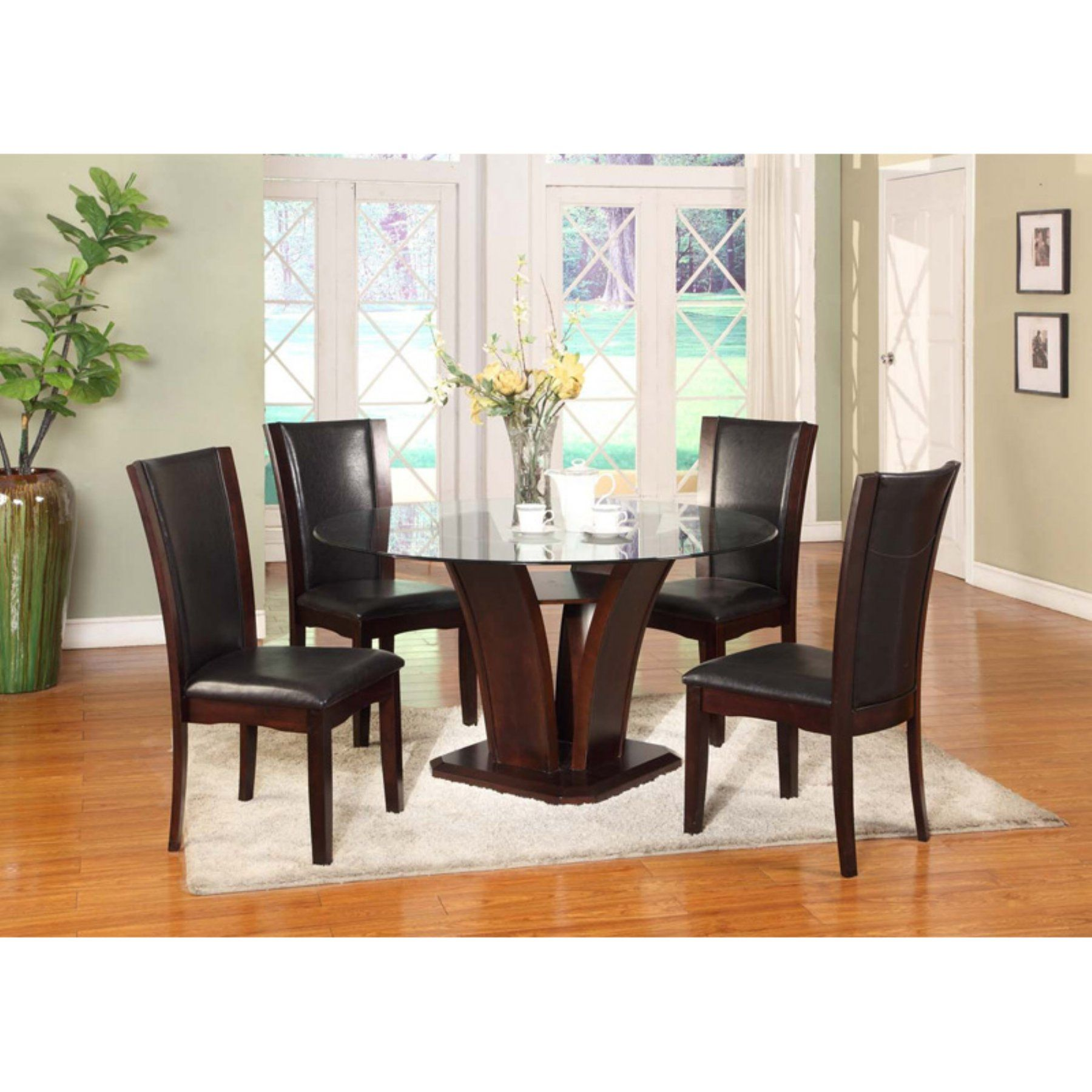 Roundhill Furniture Kecco 5 Piece Round Faux Leather Dining Table