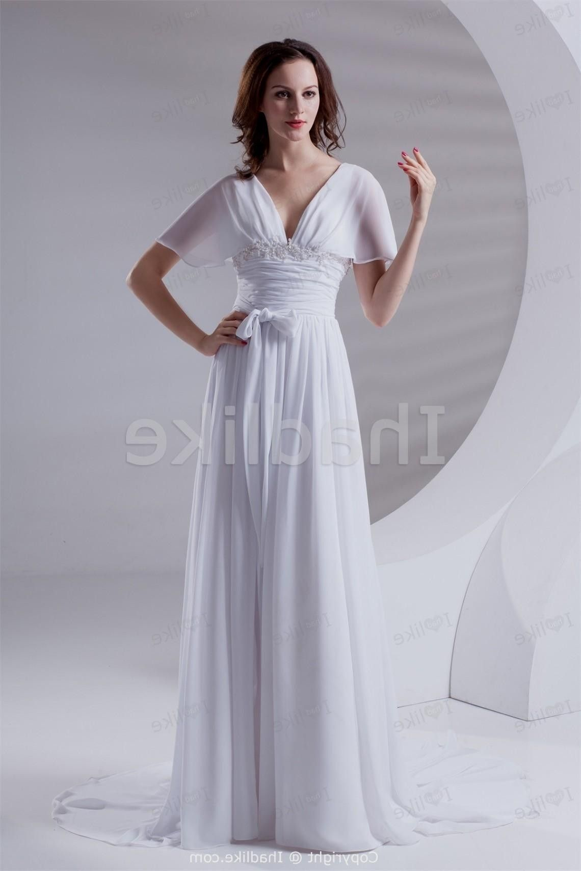 White empire flared sleeves aline beach wedding dresses wedding