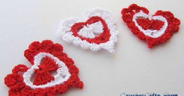 Crochet pattern heart Motif Garland Applique от crochetgiftsshop