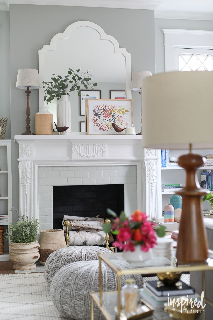 Pink for Spring: Living Room Refresh | Mantels decor, Mantels and ...