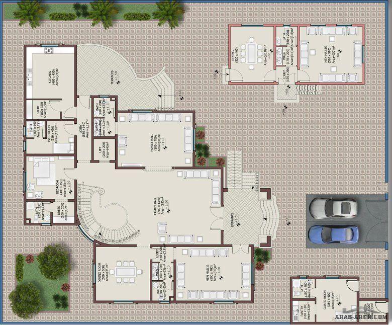 مخطط فيلا خليجى 728 متر مرب 7 غرف نوم Arab Arch Square House Plans Beautiful House Plans Drawing House Plans
