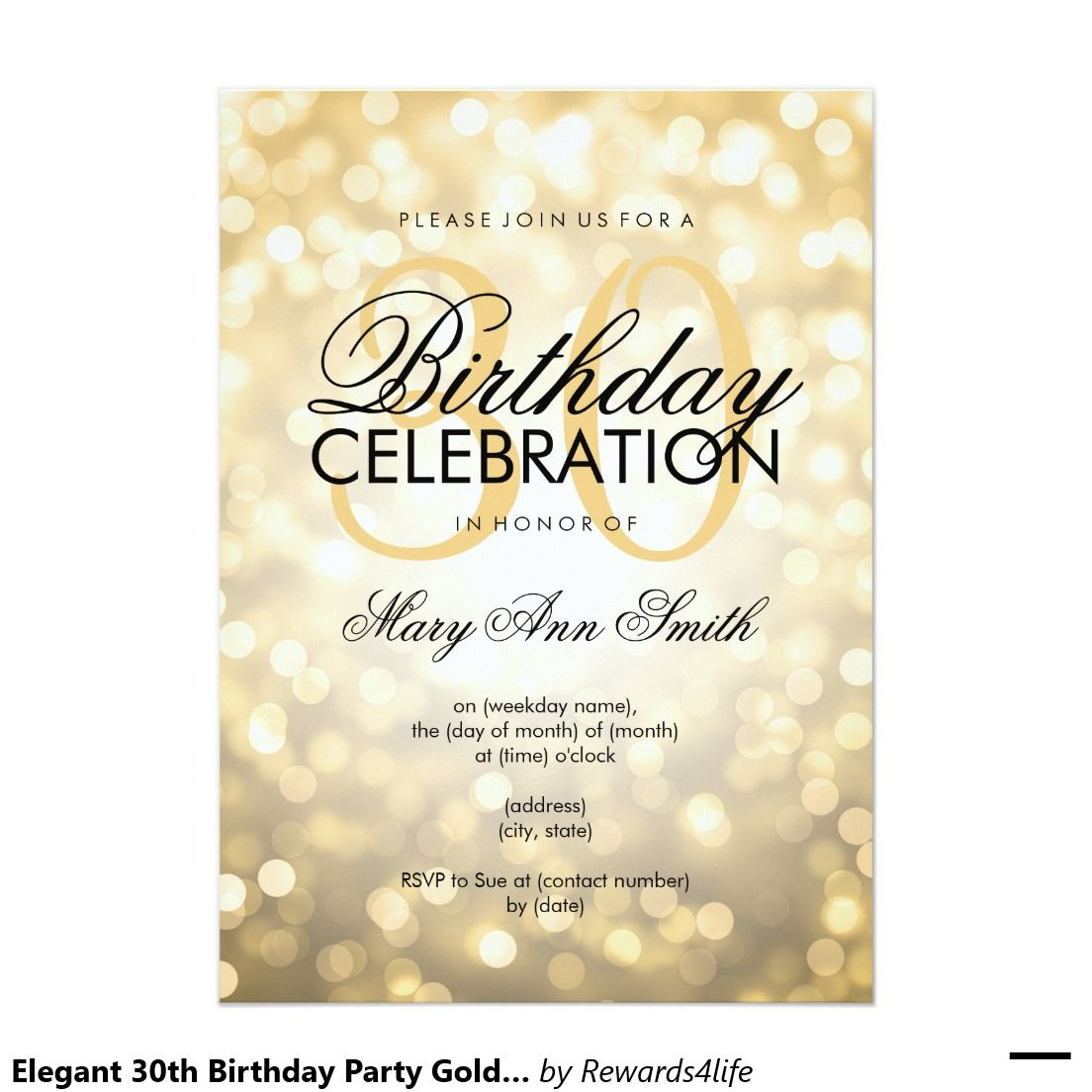 Elegant 30th Birthday Party Gold Glitter Lights Invitation Zazzle Com Elegant Birthday Invitations 30th Birthday Parties 60th Birthday Party