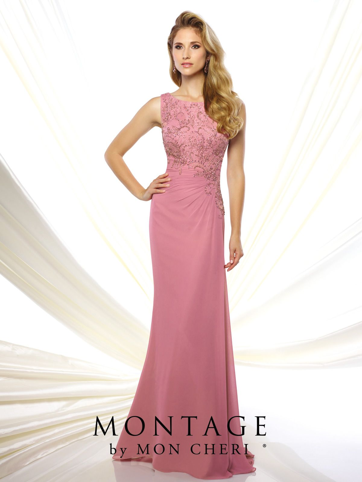 Sleeveless Jersey and Lace Gown - Montage by Mon Cheri 116947 ...