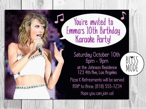 Girls birthday party invitation karaoke theme by blissmodeshop items similar to girls birthday party invitation karaoke theme taylor swift themed printable or email invitation diy on etsy filmwisefo Image collections