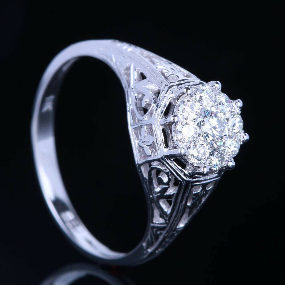 Details About Solid 10k White Gold Pave Cluster Real Full Diamonds Ring Setting Fine Jewelry In 2020 Diamond Engagement Gold Band Diamond Ring Real Diamond Rings