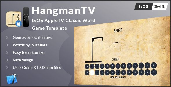 Hangman TV - tvOS AppleTV Word Game Template (Swift) - Price $21 - information templates word