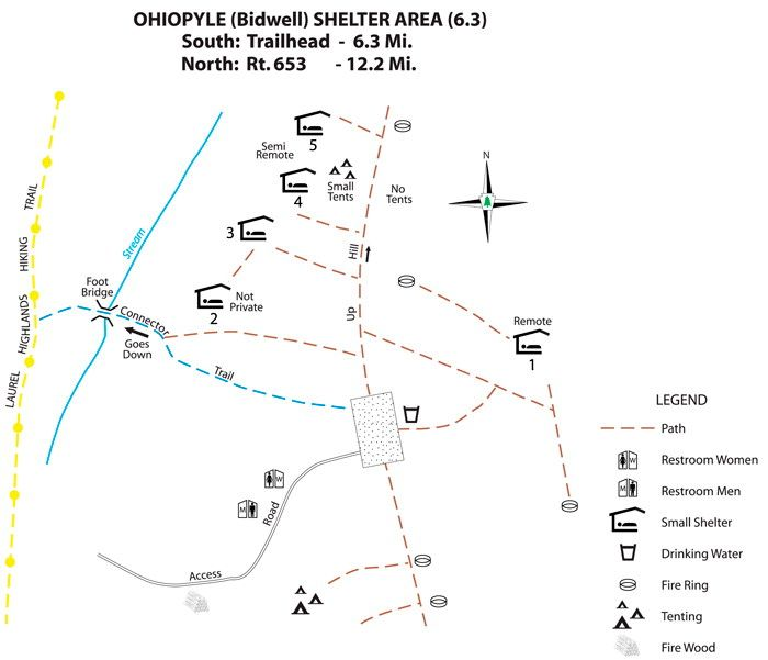 This Map Shows The Layout Of A Shelter Area On The Laurel - Appalachian trail shelters map