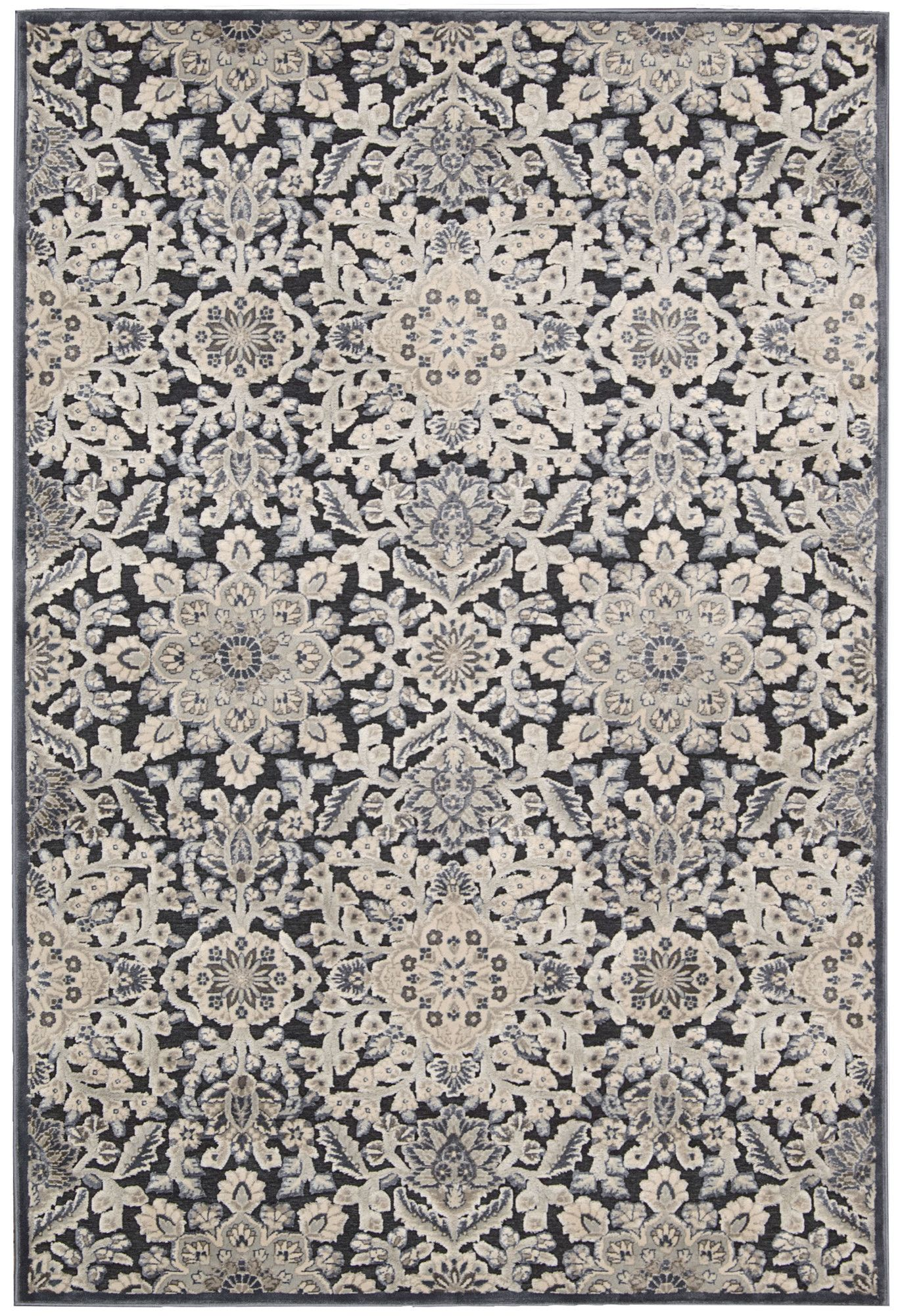 Bel Air Marseille Floral Charcoal Area Rug Clearance