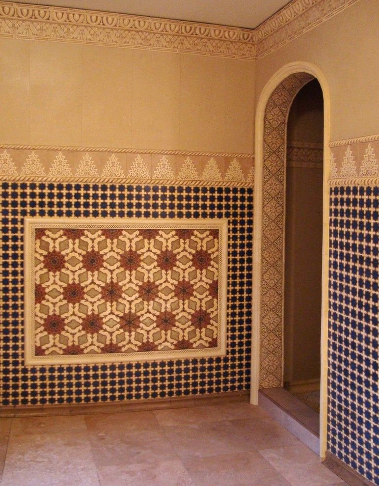 Glamorous Cement Tile technique Los Angeles Mediterranean Bathroom Innovative Designs with bathroom bathroom tile encaustic beige black carved door encaustic ethnic Mediterranean Moroccan pattern revival