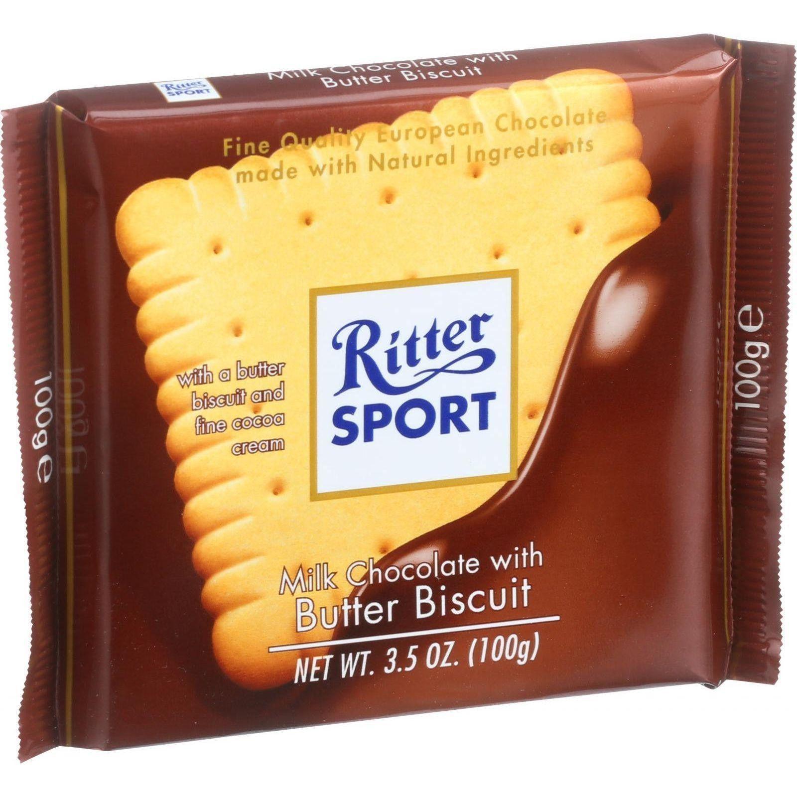 "4 X Original ""Ritter Sport Alpine Milk"" Chocolate Bar 14"