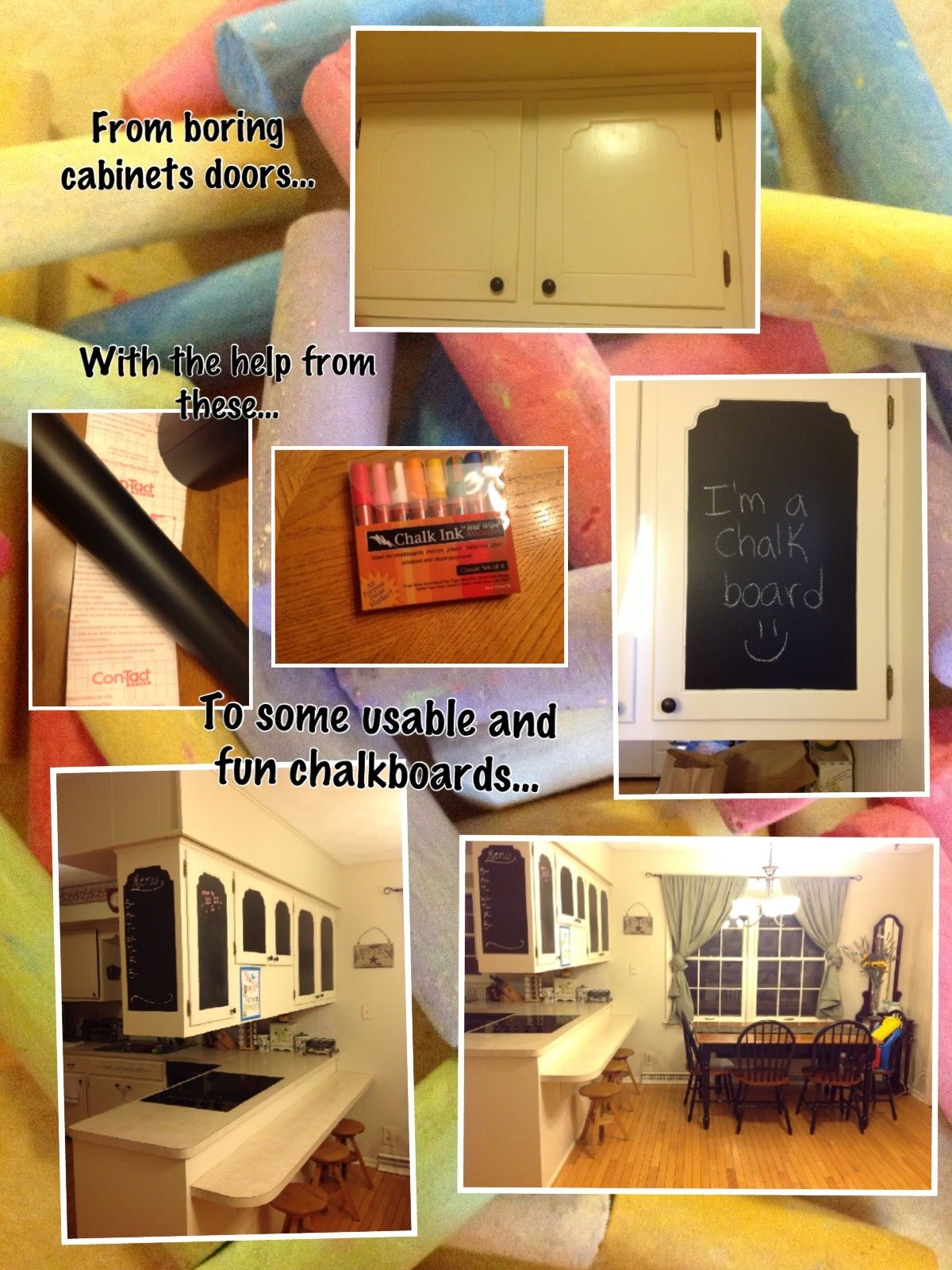 Cabinet Doors Using Chalkboard Contact Paper Crafts And Diy