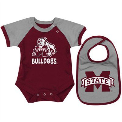 Mississippi State Bulldogs Infant Maroon First Down Creeper Bib