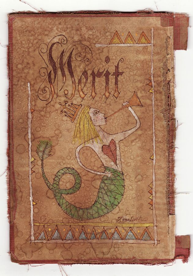 Mermaid fraktur drawn in ink and painted in watercolor. Copyright 2012, Ken Scott, American Frontier Aritist.