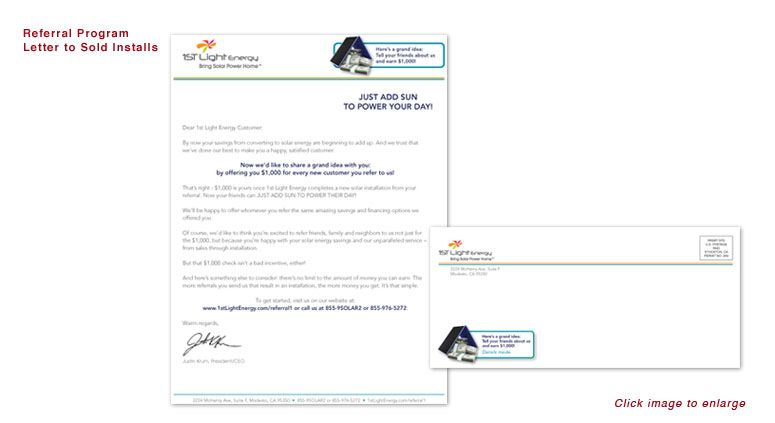 Referral Program Letter To Sold Installs For 1st Light Energy Clients Referral Program Marketing Agency Referrals