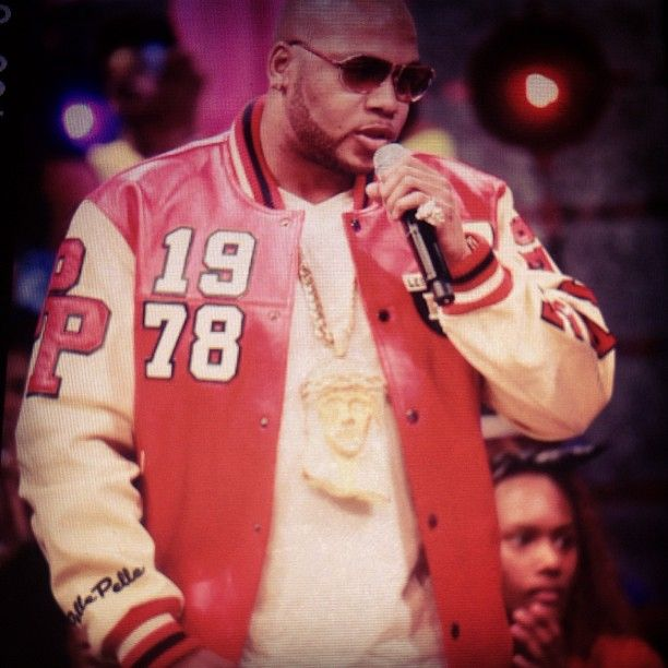 Flo Rida in the Pelle Pelle Varsity Patch Leather Jacket