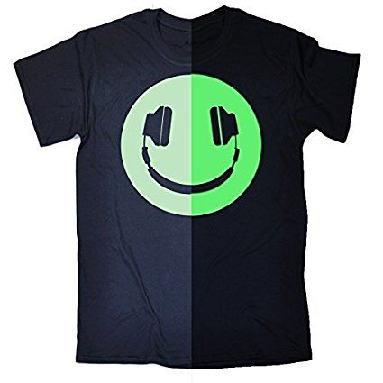 GLOW IN THE DARK HEADPHONE SMILEY (M - OXFORD NAVY) NEW PREMIUM LOOSEFIT T  SHIRT - slogan funny clothing joke novelty vintage retro top tshirt tees tee  ...
