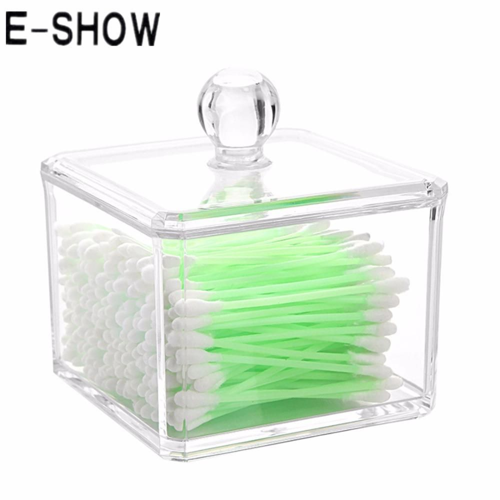 [Visit to Buy] E-SHOW Square Clear Acrylic Q-tip Holder Box
