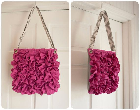 Ivey Vinyl Front Ruffle Purse with adjustable strap MADE TO ORDER. $76.00, via Etsy.