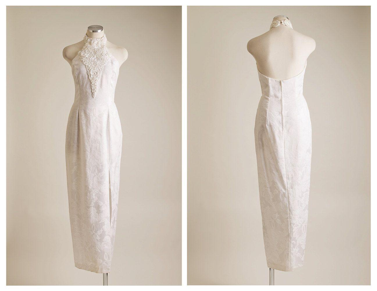 Jessica McClintock Halter Cream Beaded Wedding Dress Size 7/8 ...
