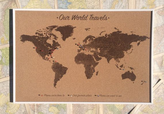 Push pin world map on cork board includes 100 by jwdesignstudio push pin world map on cork board includes 100 by jwdesignstudio gumiabroncs Images