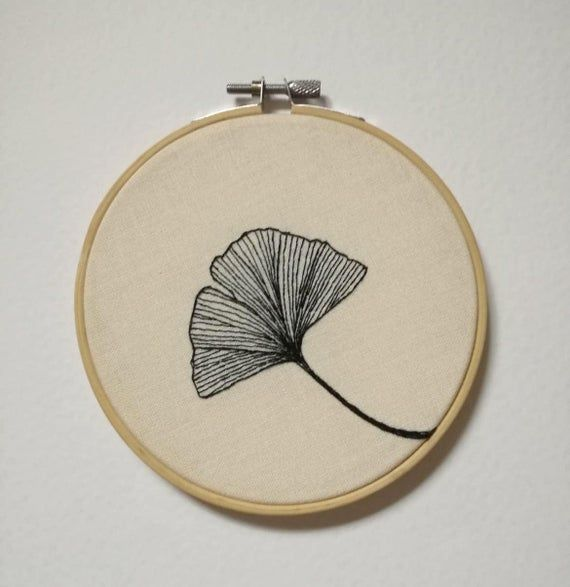 Embroidered ginko leaf