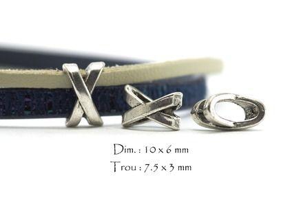 Lot de 10 perles passantes, perles à glisser Passants pour cordons - Slides - Passe cuir   Forme X Couleur Argent Vieilli  Dimensions extérieures : 10 x 6 mm Epaisseur : 6 - 9139300