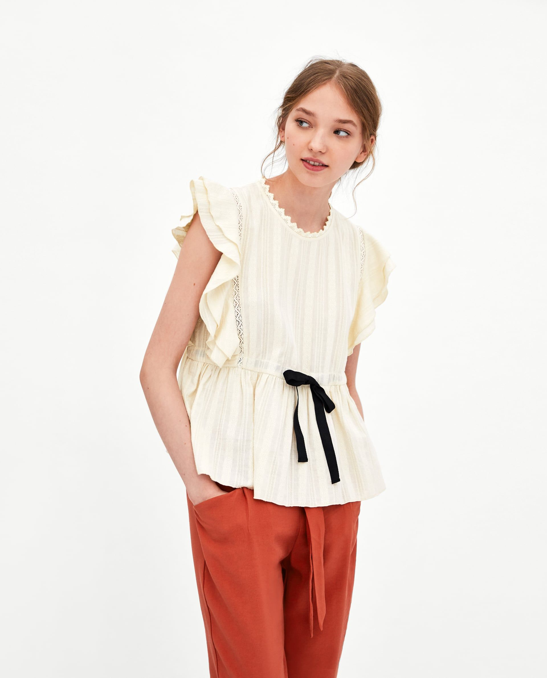 975e16a5 TOP WITH CONTRASTING BOW Bow Shirts, Shirt Blouses, T Shirt, Zara United  States