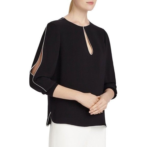Lafayette 148 New York Kelsey Cutout Silk Blouse 615 Cad Liked
