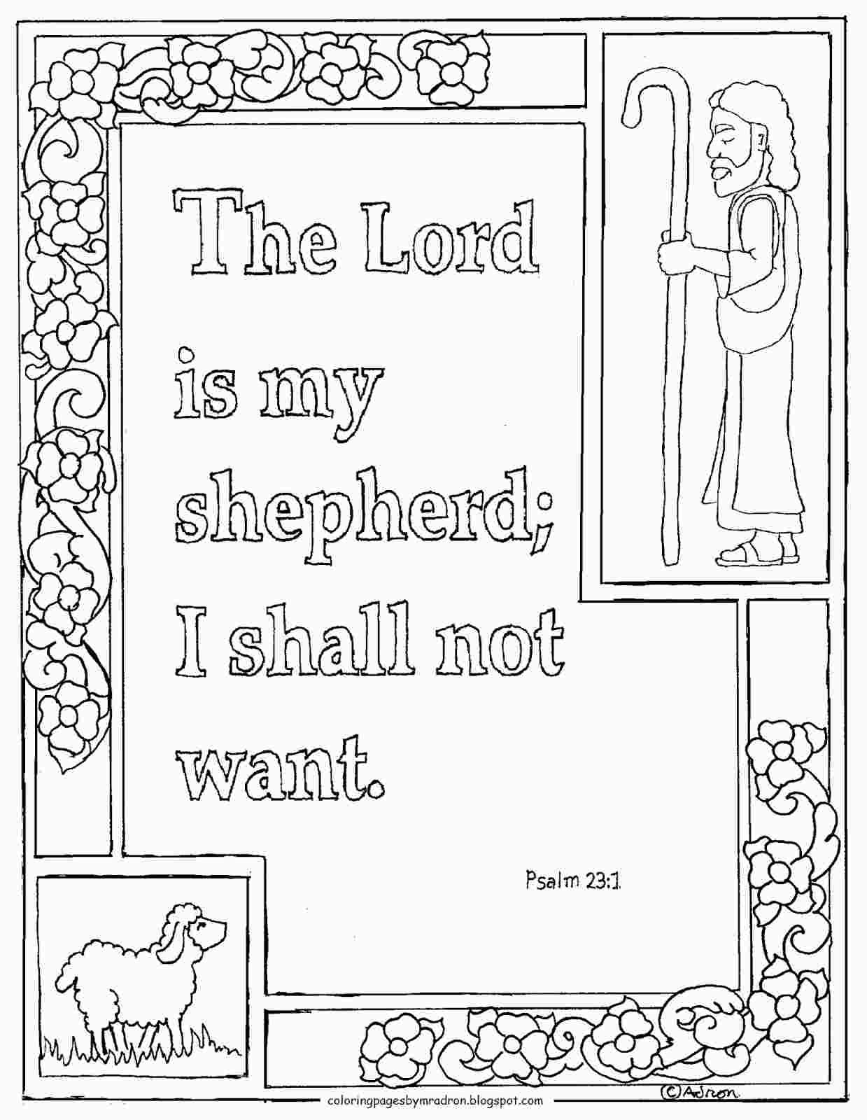 Psalm 23 Coloring Sheet Printable Sunday School Coloring Pages Bible Coloring Pages Lord Is My Shepherd
