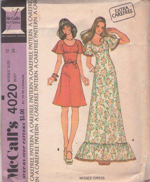Empire waist maxi dress sewing pattern