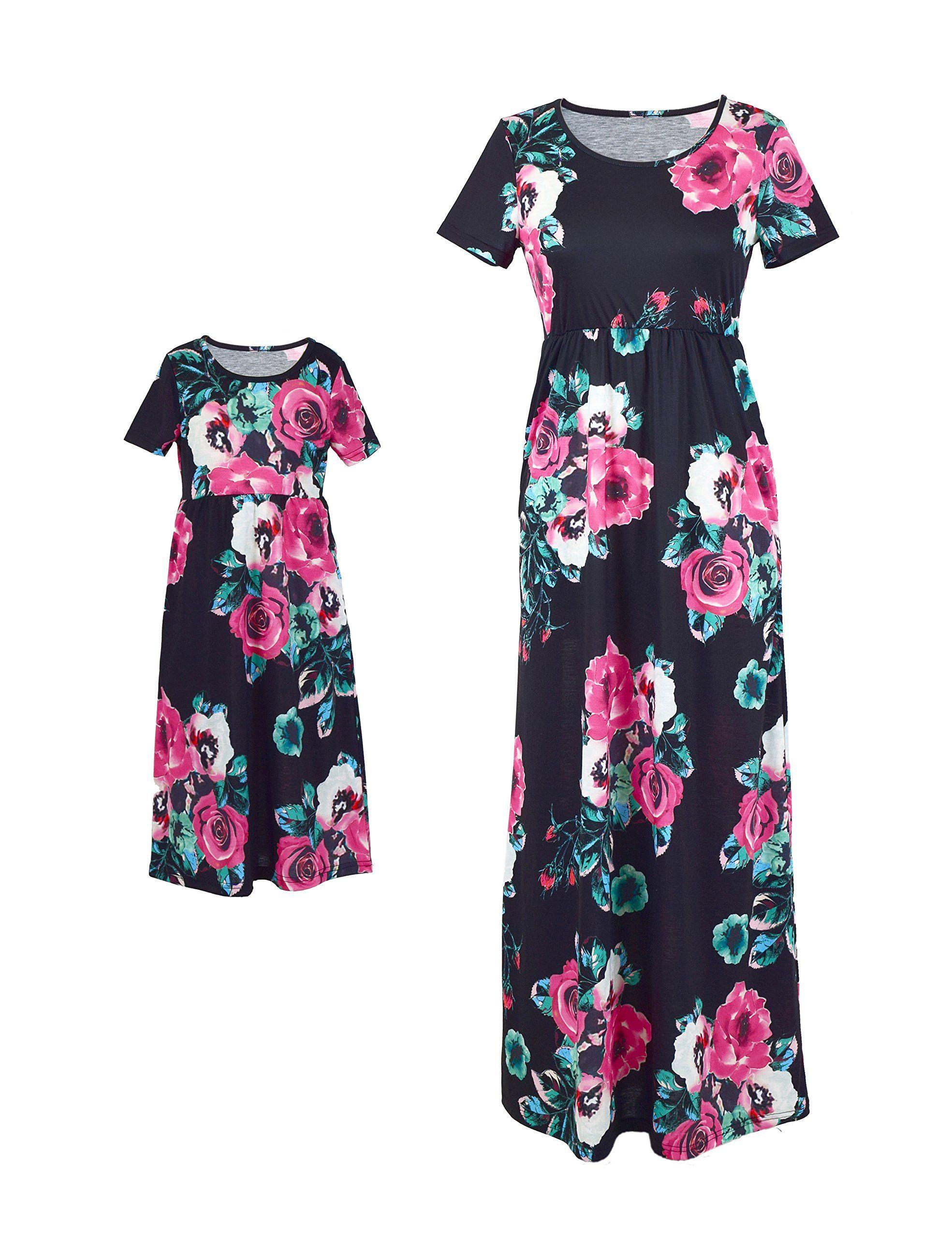 b3493e4ad Maternity Fashion - machine washable maternity dresses : FelinSoul Mother  Daughter Short Sleeve Family Matching Floral Maxi Dress SetsMOM XL Black  >>> You ...