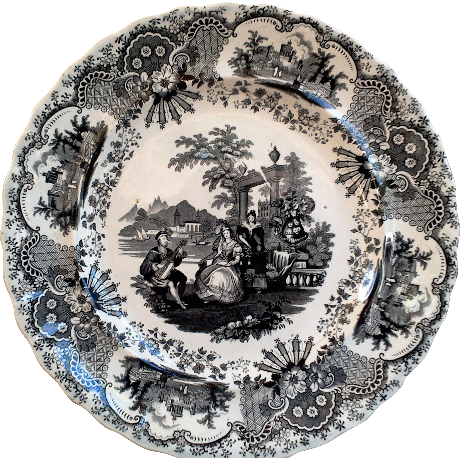 19th Century Black Transferware Dinner Plate ~ Spanish Beauties  sc 1 st  Pinterest & 19th Century Black Transferware Dinner Plate ~ Spanish Beauties ...