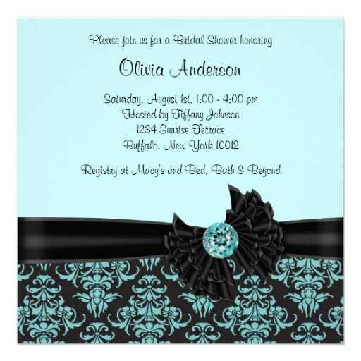 Teal Blue Black Damask Bridal Shower Personalized Announcement