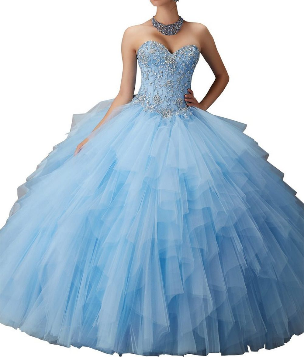 Click to buy ucuc wejanedress blue pink crystals quinceanera