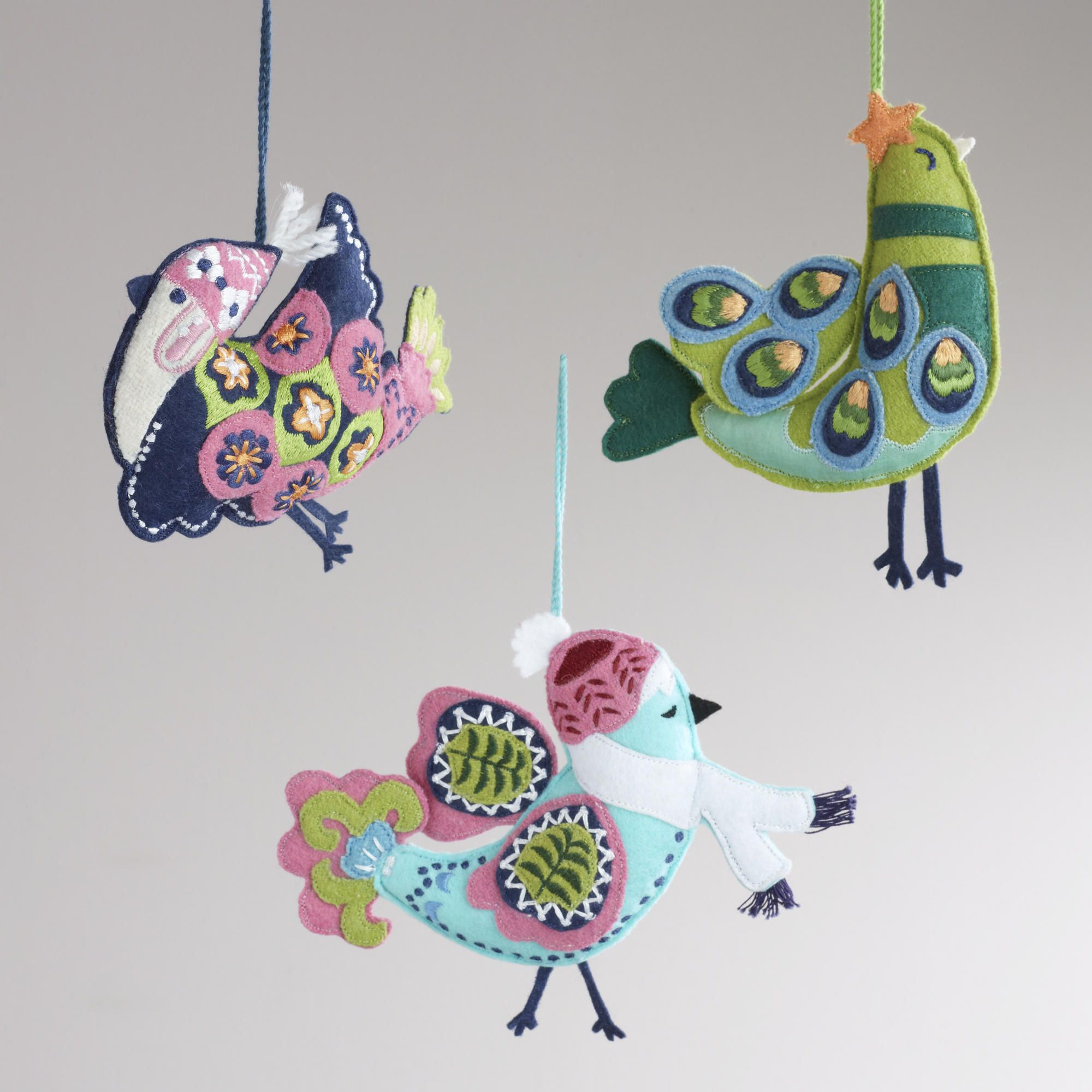 Embroidered Felt Cuckoo Bird Ornaments, Set Of 3 - World