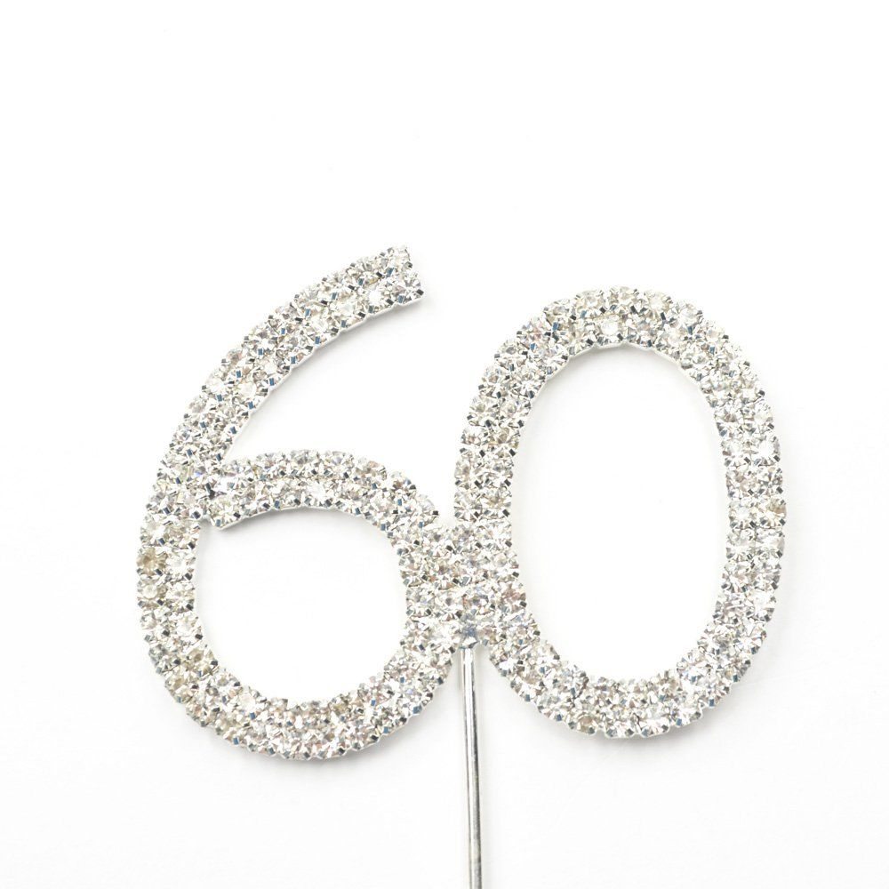 Amazon Cosmos R Rhinestone Crystal Silver Number 60 Birthday 60th Anniversary Cake Topper Kitchen Dining