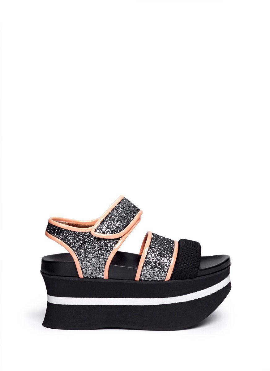 871274f8fcc Marni Patent Leather Trim Glitter Flatform Sandals in Black  (Metallic