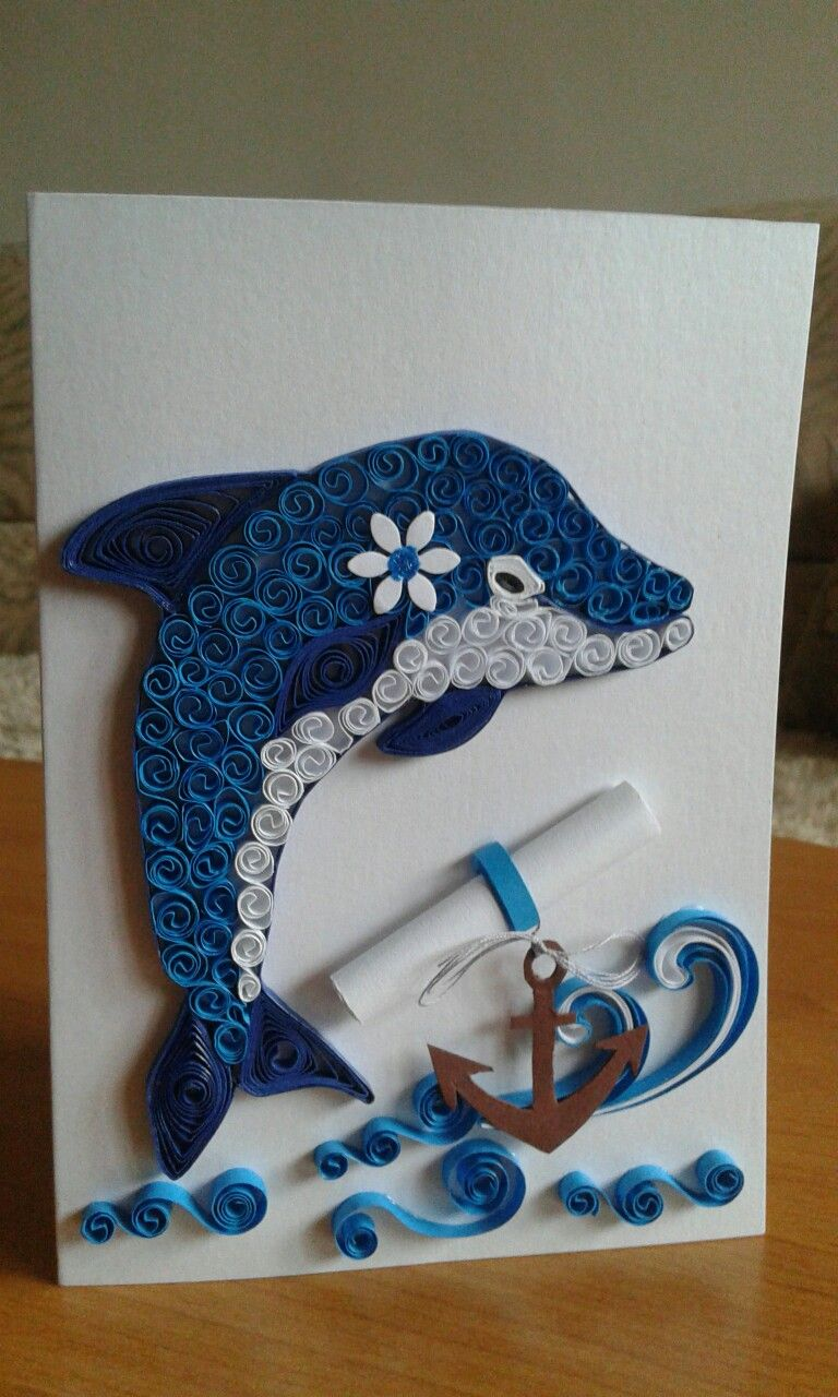 Card with dolphin filigrana pinterest quilling for Quilling paper craft
